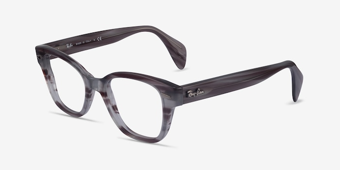 Ray-Ban RB0880 Gray Striped Acetate Eyeglass Frames from EyeBuyDirect, Angle View