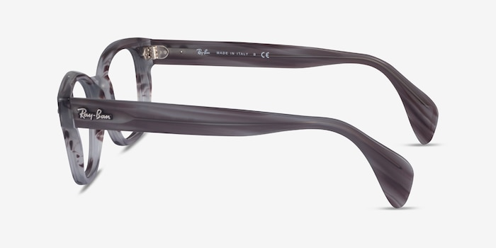 Ray-Ban RB0880 Gray Striped Acetate Eyeglass Frames from EyeBuyDirect, Side View
