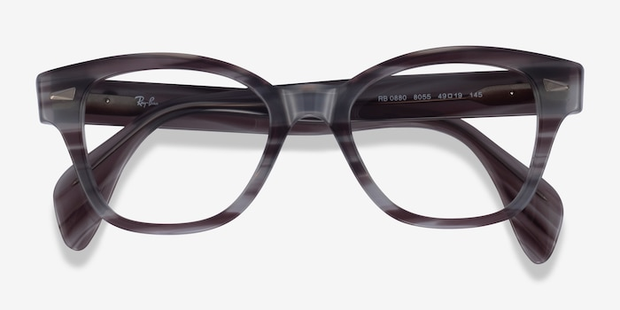 Ray-Ban RB0880 Gray Striped Acetate Eyeglass Frames from EyeBuyDirect, Closed View
