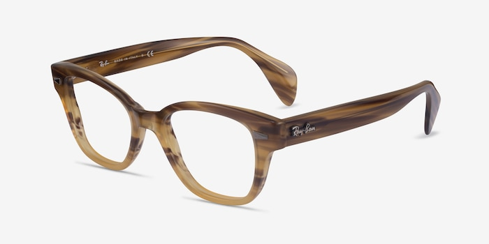 Ray-Ban RB0880 Light Brown Striped Acetate Eyeglass Frames from EyeBuyDirect, Angle View