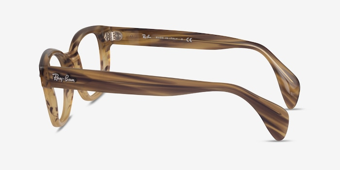 Ray-Ban RB0880 Light Brown Striped Acetate Eyeglass Frames from EyeBuyDirect, Side View