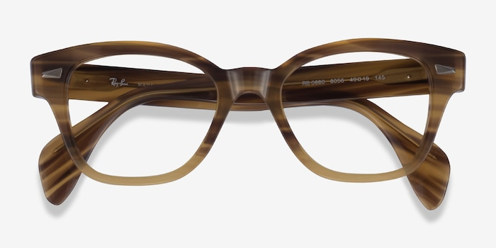 Ray-Ban RB0880 Light Brown Striped Acetate Eyeglass Frames from EyeBuyDirect, Closed View