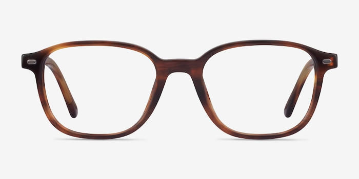 Ray-Ban Leonard Brown Striped Acetate Eyeglass Frames from EyeBuyDirect, Front View