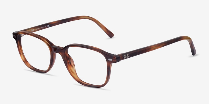 Ray-Ban Leonard Brown Striped Acetate Eyeglass Frames from EyeBuyDirect, Angle View