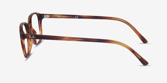 Ray-Ban Leonard Brown Striped Acetate Eyeglass Frames from EyeBuyDirect, Side View