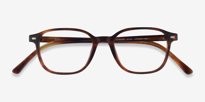 Ray-Ban Leonard Brown Striped Acetate Eyeglass Frames from EyeBuyDirect, Closed View