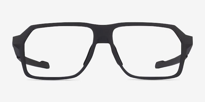 Oakley Bevel Black Plastic Eyeglass Frames from EyeBuyDirect, Front View