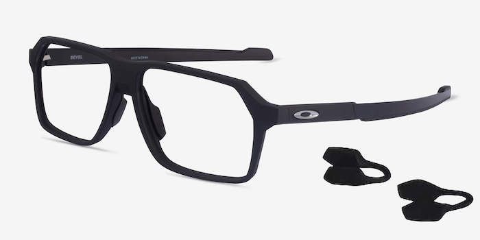 Oakley Bevel Black Plastic Eyeglass Frames from EyeBuyDirect, Angle View