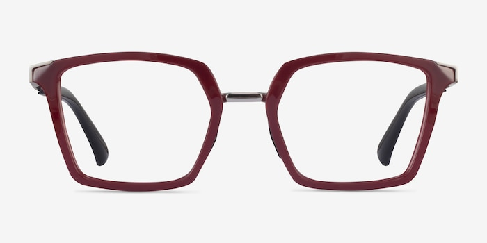 Oakley Sideswept Rx Burgundy & Silver Plastic Eyeglass Frames from EyeBuyDirect, Front View