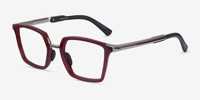 Oakley Sideswept Rx Burgundy & Silver Plastic Eyeglass Frames from EyeBuyDirect, Angle View
