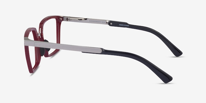 Oakley Sideswept Rx Burgundy & Silver Plastic Eyeglass Frames from EyeBuyDirect, Side View