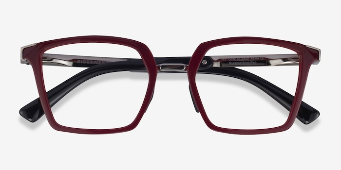 Oakley Sideswept Rx Burgundy & Silver Plastic Eyeglass Frames from EyeBuyDirect, Closed View