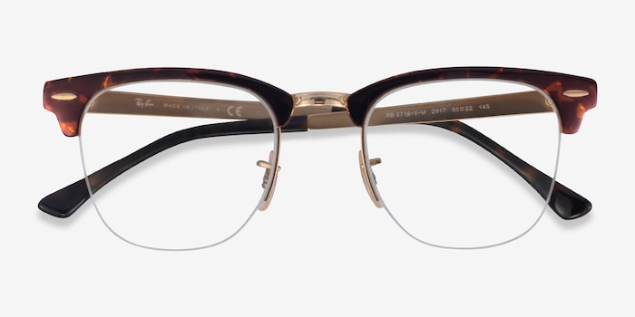Ray-Ban RB3716VM Floral & Gold Metal Eyeglass Frames from EyeBuyDirect, Closed View