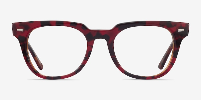 Ray-Ban METEOR Red Tortoise Acetate Eyeglass Frames from EyeBuyDirect, Front View