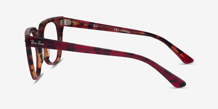 Ray-Ban METEOR Red Tortoise Acetate Eyeglass Frames from EyeBuyDirect, Side View