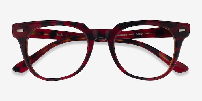 Ray-Ban METEOR Red Tortoise Acetate Eyeglass Frames from EyeBuyDirect, Closed View