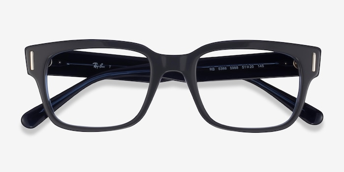 Ray-Ban RB5388 Gray & Blue Acetate Eyeglass Frames from EyeBuyDirect, Closed View