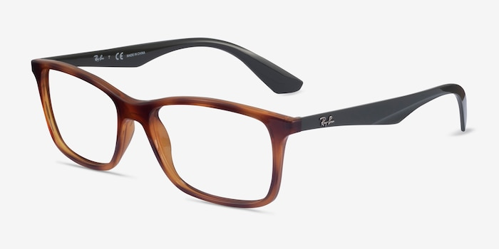 Ray-Ban RB7047 Tortoise & Green Plastic Eyeglass Frames from EyeBuyDirect, Angle View