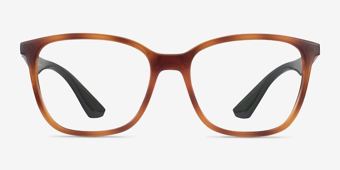 Ray-Ban RB7066 Tortoise & Green Plastic Eyeglass Frames from EyeBuyDirect, Front View
