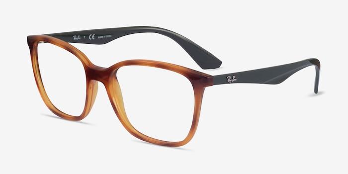 Ray-Ban RB7066 Tortoise & Green Plastic Eyeglass Frames from EyeBuyDirect, Angle View