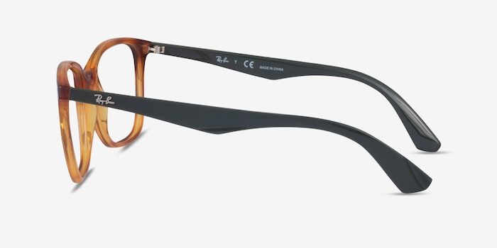 Ray-Ban RB7066 Tortoise & Green Plastic Eyeglass Frames from EyeBuyDirect, Side View