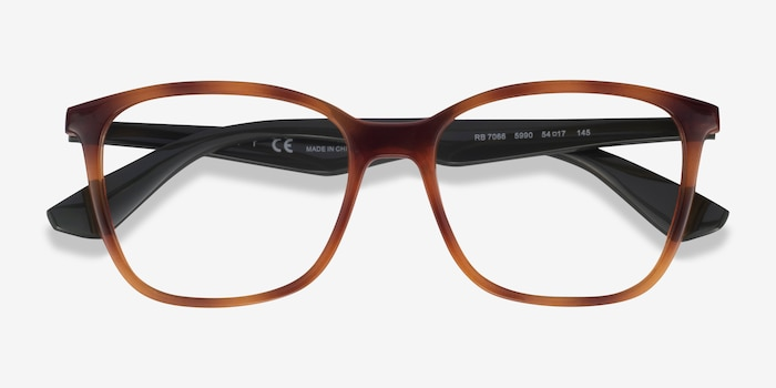 Ray-Ban RB7066 Tortoise & Green Plastic Eyeglass Frames from EyeBuyDirect, Closed View