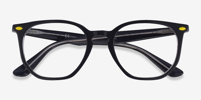 Ray-Ban RB7151M Gray & Clear Acetate Eyeglass Frames from EyeBuyDirect, Closed View