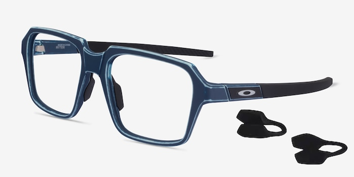Oakley Miter Blue Acetate Eyeglass Frames from EyeBuyDirect, Angle View