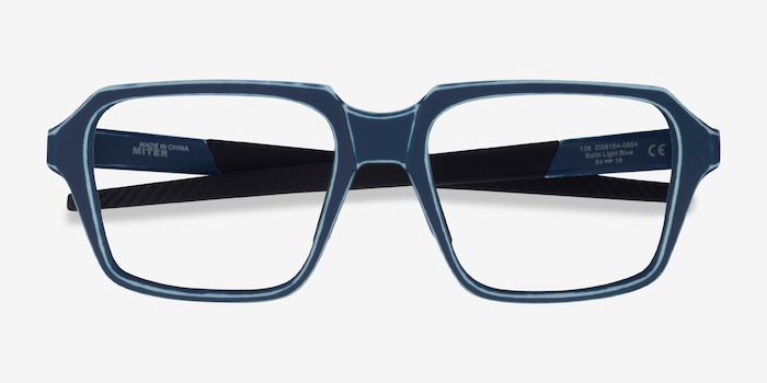 Oakley Miter Blue Acetate Eyeglass Frames from EyeBuyDirect, Closed View