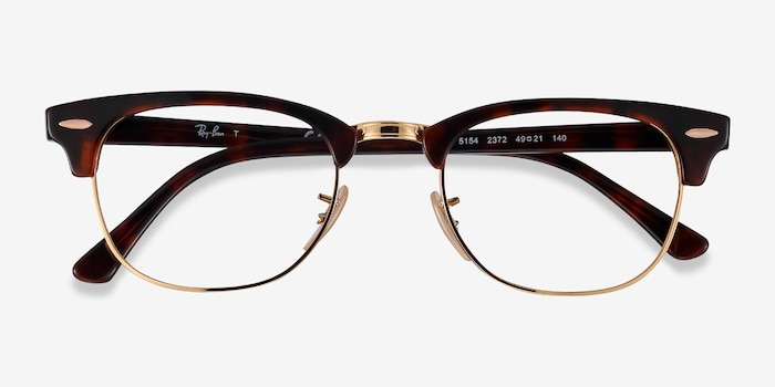 Ray-Ban RB5154 Gold Tortoise Acetate-metal Eyeglass Frames from EyeBuyDirect, Closed View