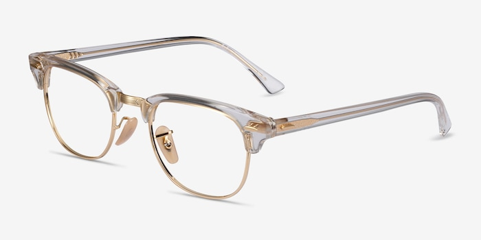 Ray-Ban RB5154 Gold Transparent Metal Eyeglass Frames from EyeBuyDirect, Angle View