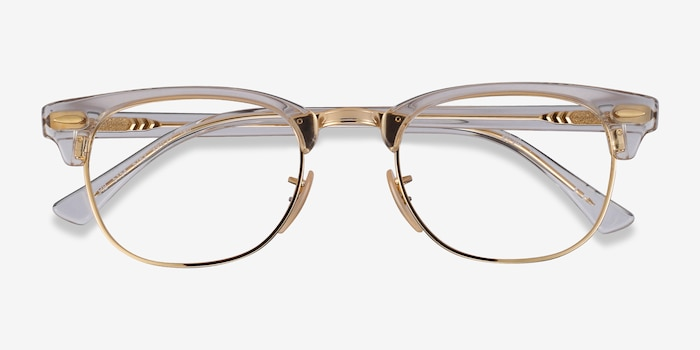 Ray-Ban RB5154 Gold Transparent Metal Eyeglass Frames from EyeBuyDirect, Closed View
