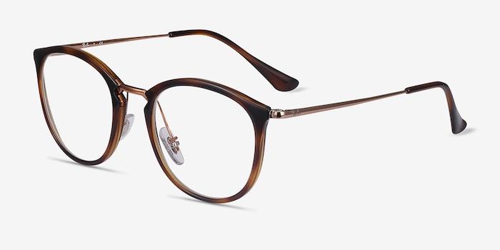 Ray-Ban RB7140 Tortoise Bronze Plastic-metal Eyeglass Frames from EyeBuyDirect, Angle View