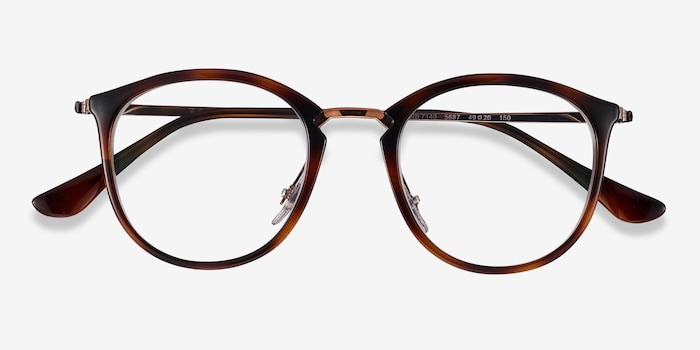 Ray-Ban RB7140 Tortoise Bronze Plastic-metal Eyeglass Frames from EyeBuyDirect, Closed View