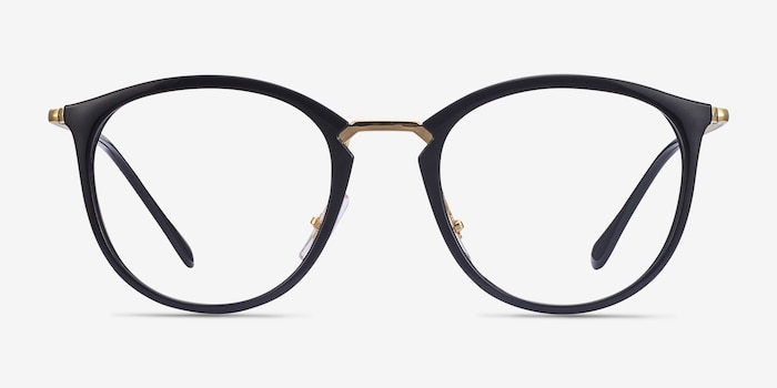 Ray-Ban RB7140 Black Gold Metal Eyeglass Frames from EyeBuyDirect, Front View