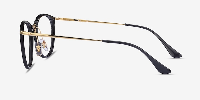 Ray-Ban RB7140 Black Gold Plastic-metal Eyeglass Frames from EyeBuyDirect, Side View