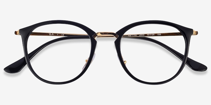 Ray-Ban RB7140 Black Gold Metal Eyeglass Frames from EyeBuyDirect, Closed View