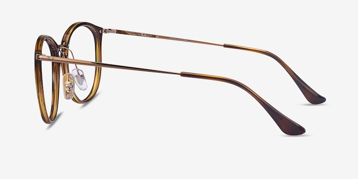 Ray-Ban RB7140 Tortoise Metal Eyeglass Frames from EyeBuyDirect, Side View