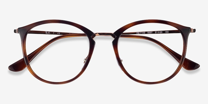 Ray-Ban RB7140 Tortoise Metal Eyeglass Frames from EyeBuyDirect, Closed View