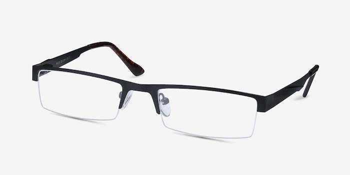 Malmo Black Metal Eyeglass Frames from EyeBuyDirect, Angle View