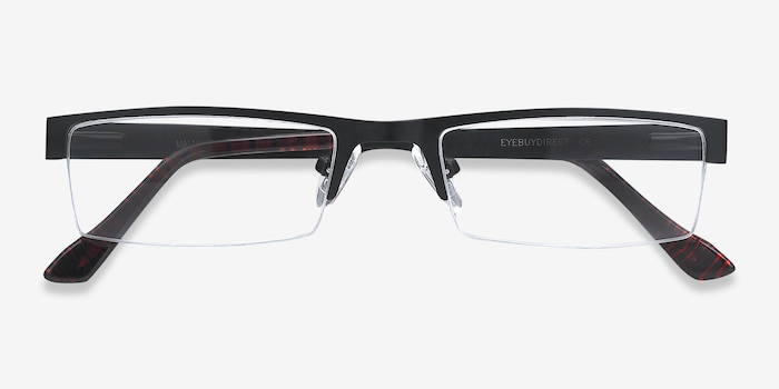 Malmo Black Metal Eyeglass Frames from EyeBuyDirect, Closed View