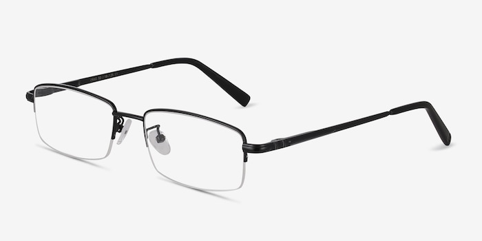 Craig Black Metal Eyeglass Frames from EyeBuyDirect, Angle View