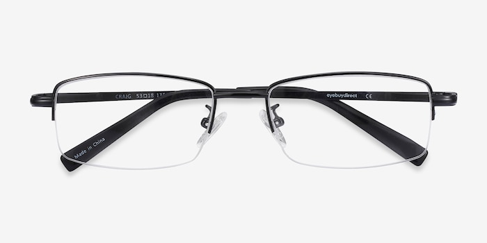 Craig Black Metal Eyeglass Frames from EyeBuyDirect, Closed View