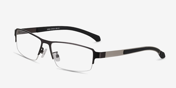 Lewis Gunmetal Metal Eyeglass Frames from EyeBuyDirect, Angle View