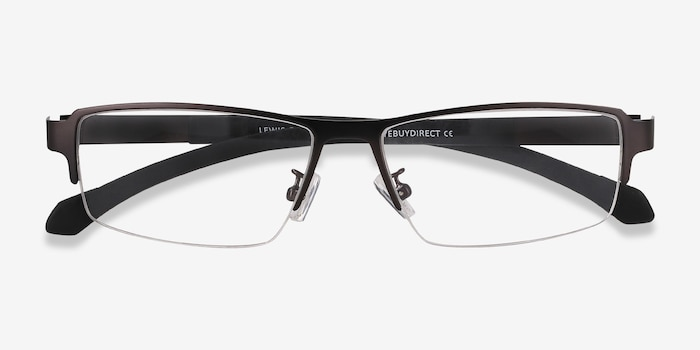 Lewis Gunmetal Metal Eyeglass Frames from EyeBuyDirect, Closed View