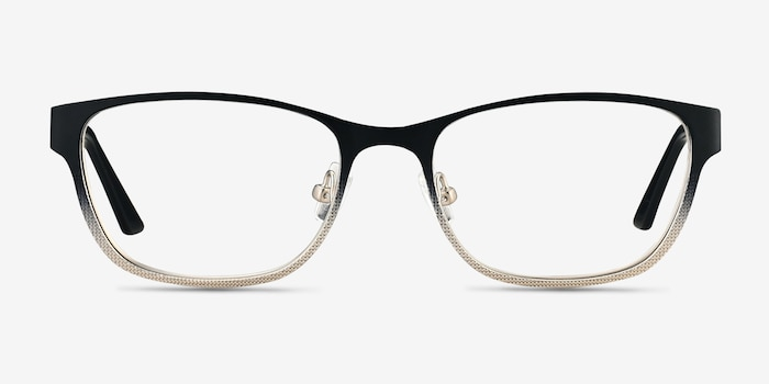 Adrien Black Metal Eyeglass Frames from EyeBuyDirect, Front View