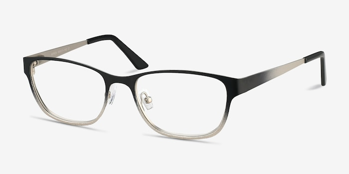 Adrien Black Metal Eyeglass Frames from EyeBuyDirect, Angle View