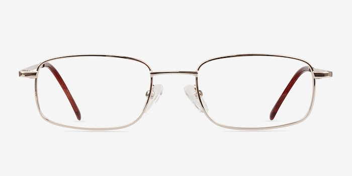 Florian Golden Metal Eyeglass Frames from EyeBuyDirect, Front View