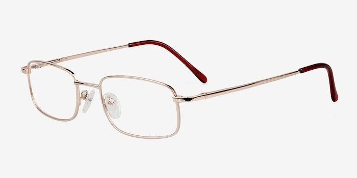 Florian Golden Metal Eyeglass Frames from EyeBuyDirect, Angle View