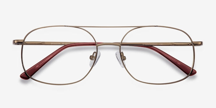 Branson Bronze Metal Eyeglass Frames from EyeBuyDirect, Closed View